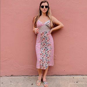 Zara floral patchwork midi dress